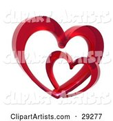 Two Red Glass Hearts Linked Together, One Smaller Than the Other, Symbolizing Love and Trust