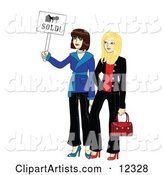 Two Young Beautiful Real Estate Agent Realtors Holding a Sold Sign
