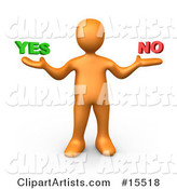 Uncertain Orange Person Shrugging and Weiging out the Options of Yes or No