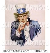 Uncle Sam Wearing the Starred Hat and Pointing His Finger