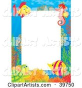 Underwater Stationery Border of a Friendly Sea Turtle, Tropical Fish, and Seahorse at a Coral Reef