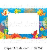 Underwater Stationery Border of a Seahorse, Turtle and Tropical at a Coral Reef
