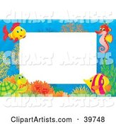 Underwater Stationery Border of Tropical Fish, a Seahorse and Turtle at a Coral Reef