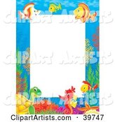 Underwater Stationery Border of Tropical Fish, Turtles and Seahorses Socializing