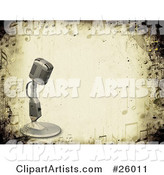 Vintage Microphone over a Grunge Background Bordered by Music Notes