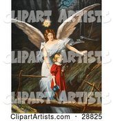Vintage Valentine of a Female Guardian Angel Guiding a Little Girl in a Red Dress Across a Dangerous Log Bridge over a Gorge, Circa 1890