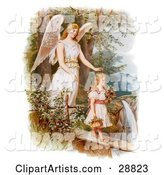 Vintage Valentine of a Female Guardian Angel Looking over a Little Girl As She Carries Flowers and a Basket Across a Log over a Cliff and River, Circa 1890