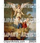 Vintage Valentine of a Female Guardian Angel Watching over a Little Boy and Girl As They Pick Flowers and Chase Butterflies at the Edge of a Cliff, Circa 1890