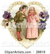 Vintage Valentine of a Sweet Little Boy Trying to Woo a Little Girl in a Heart of Leaves and Pansy Flowers, Circa 1890