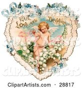 Vintage Valentine of Cupid with Ribbons, Prancing in White Lily of the Valley Flowers on a Lacy Heart with Forget Me Not Flowers, Circa 1890