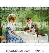 Vintage Victorian Couple Drinking Tea Outdoors on a Nice Day, the Woman Looking Away from the Man, Circa 1830