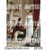 Vintage Victorian Scene of a Young Man on Bended Knee, Proposing to a Lovely but Pouty Young Lady in a Home Interior, Circa 1830