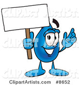 Water Drop Mascot Cartoon Character Holding a Blank Sign