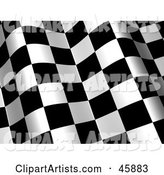Waving Checkered Flag Background with White and Black Squares