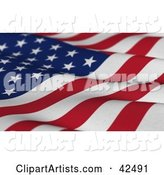 Wavy Textured American Flag with Stars and Stripes