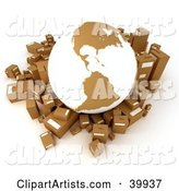 White and Brown Globe Surrounded by Cardboard Parcels