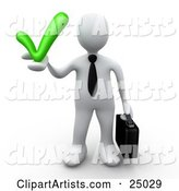 White Business Person in a Tie, Carrying a Briefcase and Holding a Grey Check Mark, Symbolizing Approval and Solutions