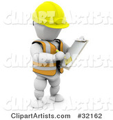 White Character in a Hardhat and Vest, Taking Notes on a Clipboard in a Construction Zone