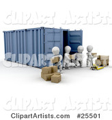White Characters Working Together to Move a Shipment of Boxes from a Freight Container to a Pallet Truck