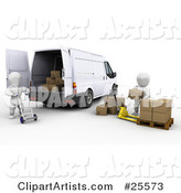 White Characters Working Together with a Dolly and Pallet Truck to Load Shipping Boxes into a Delivery Van