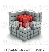 White Cubic Walls Around a Red Core in a Puzzle Cube