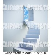 White Staircase Leading to Clouds Beyond an Open Door