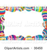 White Stationery Background Bordered with Colorful Easter Eggs