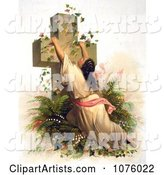 Woman Draped on a Cross Covered with Vines