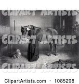 Woman Feeding and Leaning Against a Horse While a Dog Watches and a Kitten Plays, a Man Standing in the Background