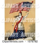 Woman, Portrayed As Lady Liberty, Holding a Sword and American Flag