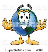 World Earth Globe Mascot Cartoon Character with Welcoming Open Arms