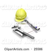 Yellow Hardhat, Blueprints, Ruler, Pencil and Hammer