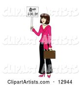 Young Beautiful Female Real Estate Agent Realtor Holding a Sold Sign and a Briefcase
