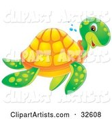 Sea Turtle Clipart by Alex Bannykh