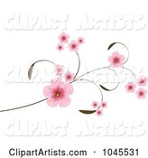 Vector Cherry Blossoms Clipart by Pushkin