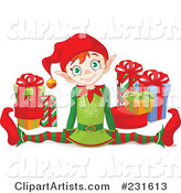 Vector Christmas Elf Clipart by Pushkin