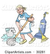 Vector Cleaning Clipart by LaffToon