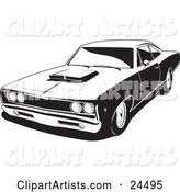 1968 Dodge Super Bee Muscle Car with a Hood Scoop, Black and White