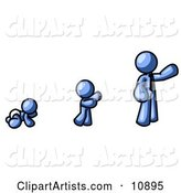 A Blue Person in His Growth Stages of Life, As a Baby, Child and Adult