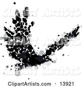 Abstract Crow or Raven Made of Black and Gray Circles in Flight