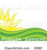 Abstract Green and Yellow Heat Waves in Front of a Bright Yellow Sun