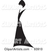 Abstract Woman with Black Hair, in a Black Dress