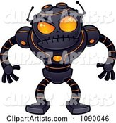 Angry Black Robot with Orange Eyes