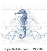 Antique Blue Seahorse over Halftone Dots with Floral Vines, Stars, Bubbles
