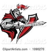 Armoured Knight with a Red Cape Shield and Sword