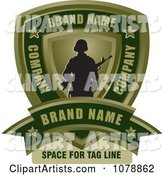 Army Soldier Shield and Banner Sample Text Logo