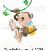 Baby Monkey with a Pacifier and Teddy Bear, Swinging on a Vine
