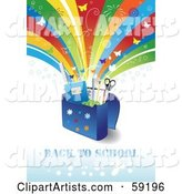 Back to School Background with Supplies in a Bag Under a Shooting Rainbow with Fireworks and Butterflies