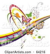 Background of Colorful Butterflies, Circles, Swooshes and Rainbows, on White