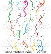 Background of Colorful Green, Blue, Purple, Pink, Yellow and Orange Party Streamers and Confetti over a White Background